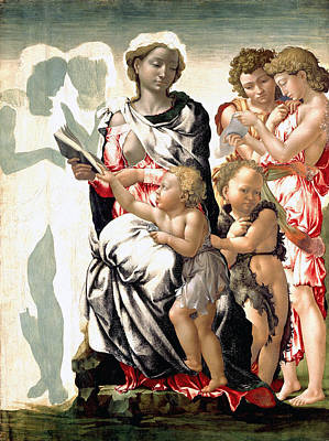 Baptism Painting - The Virgin And Child With Saint John And Angels by Michelangelo Buonarroti
