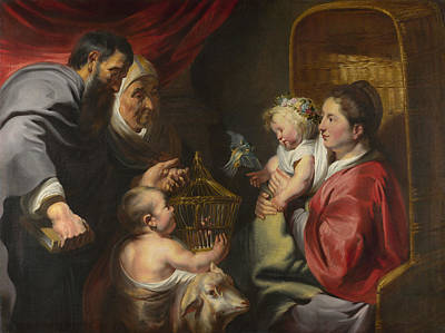 Child Jesus Painting - The Virgin And Child With Saint John And His Parents by Jacob Jordaens
