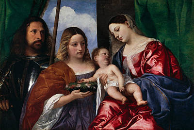 European Painting - The Virgin And Child With Saints Dorothy And George by Titian
