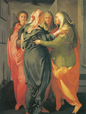 Old Church Painting - The Visitation by Jacopo Da Pontormo