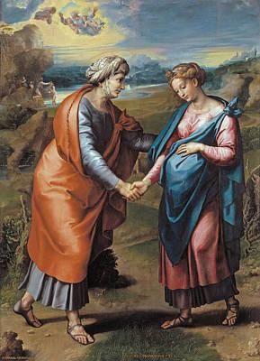 Raphael Archangel Painting - The Visitation by Raffaello Sanzio