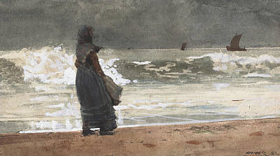 Sailboats Drawing - The Watcher, Tynemouth by Winslow Homer