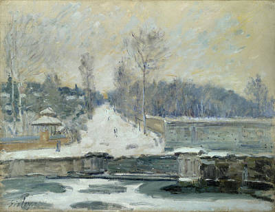 Frost Painting - The Watering Place At Marly-le-roi by Alfred Sisley