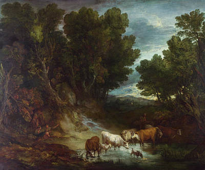 English Painting - The Watering Place by Thomas Gainsborough