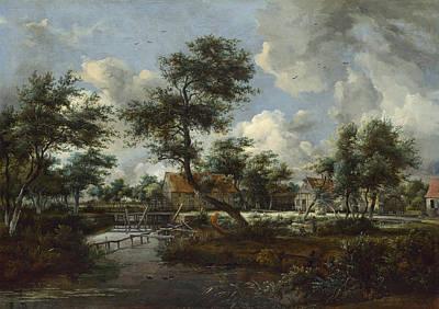 Meindert Hobbema Painting - The Watermills At Singraven Near Denekamp by Meindert Hobbema