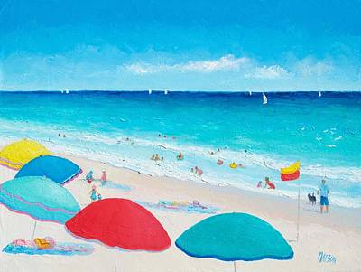 Children Playing On Beach Painting - The Weather Is Sweet by Jan Matson