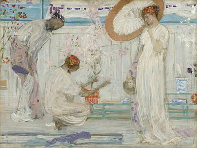 Woman Painting - The White Symphony - Three Girls by James Abbott McNeill Whistler