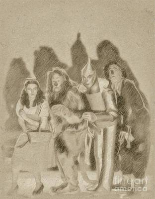 Wizard Drawing - The Wizard Of Oz Cast by Frank Falcon