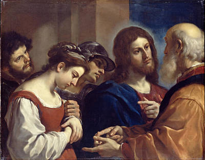Painting - The Woman Taken In Adultery by Guercino