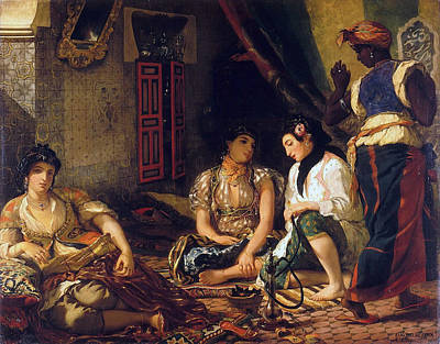 Club Scene Painting - The Women Of Algiers In Their Apartment by Eugene Delacroix