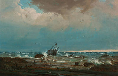 Painting - The Wreck Of George The Third by Knud Bull