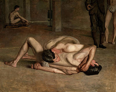 Realism Painting - The Wrestlers by Thomas Eakins