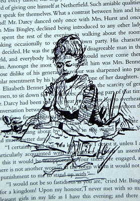 The Writer At Work Art Print by The Doodle Box