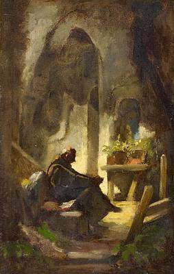 Yawning Painting - The Yawning Monk by Carl Spitzweg