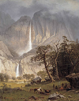 Yosemite Painting - the Yosemite Fall by Albert Bierstadt