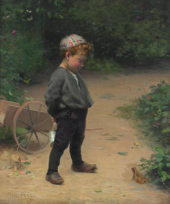 Little Red Wagon Painting - The Young Biologist by Paul Peel
