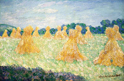 Field Painting - The Young Ladies Of Giverny, Sun Effect by Claude Monet