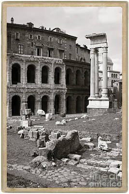 Theatre Of Marcellus Black And White Art Print by Stefano Senise