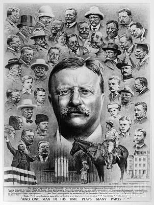 Turn Of The Century Drawing - Theodore Roosevelt by Granger