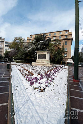 Photograph - Theodoros Kolokotronis Statue With Snow by George Atsametakis
