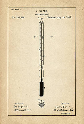 Drawing Digital Art - Thermometer Patent - Patent Drawing For The 1882 Thermometer By Adolph Bayer by Jose Elias - Sofia Pereira