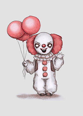 It Wall Art - Drawing - They All Float by Ludwig Van Bacon