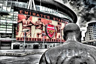 Mixed Media - Thierry Henry Statue Emirates Stadium Art by David Pyatt