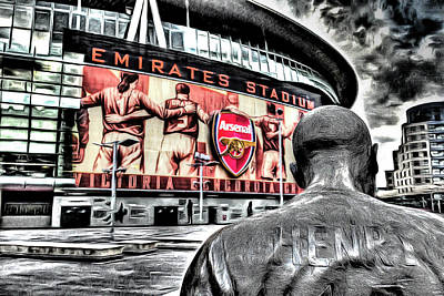 Football Mixed Media - Thierry Henry Statue Emirates Stadium Art by David Pyatt