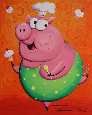 This Little Piggy Baked Cupcakes Art Print by Jennifer Alvarez