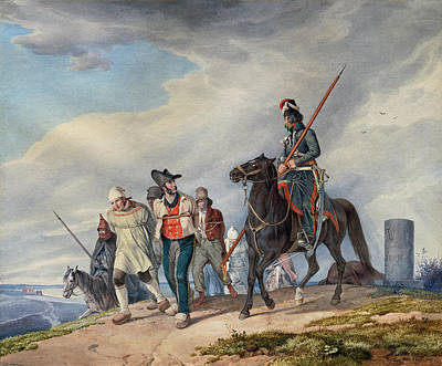 Painting -  Three Armed Riders Escorting Prisoners Near Reims by Peter von Hess
