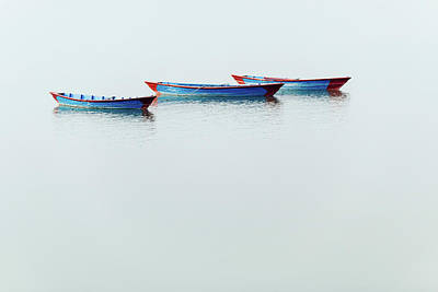 Photograph - Three Blue Boats On Phewa Lake In Pokhara by Dutourdumonde Photography