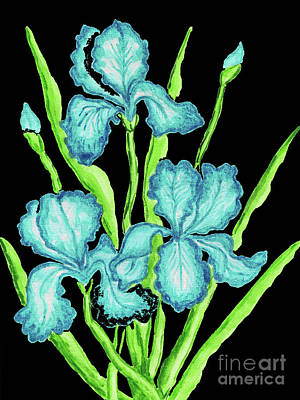Painting - Three  Blue Irises by Irina Afonskaya