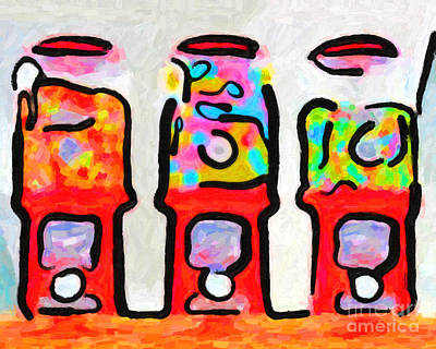 Wingsdomain Photograph - Three Candy Machines by Wingsdomain Art and Photography