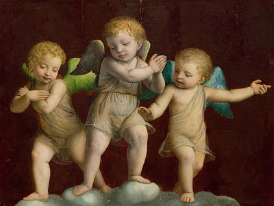 Cherub Painting - Three Cherubs by Bernardino Luini