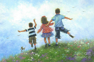 Three Brothers Painting - Three Children Leaping by Vickie Wade
