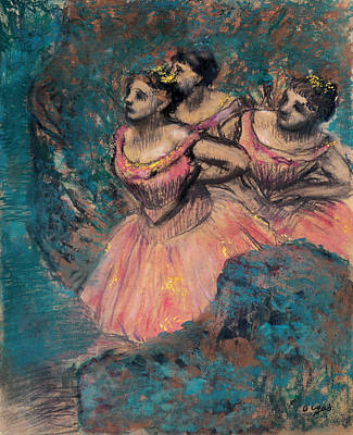 Ballet Painting - Three Dancers In Red Costume by Edgar Degas