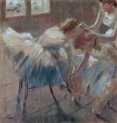 Pastel - Three Dancers Preparing For Class by Edgar Degas