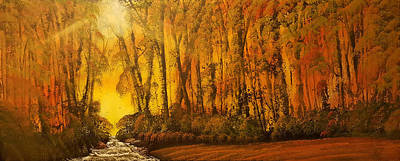 Bob Ross Painting - Three Deer And A Stream With Rapids by Russell Collins