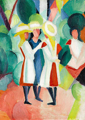 Painting - Three Girls In Yellow Straw Hats by August Macke