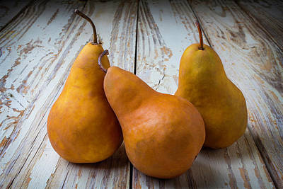 Chip Photograph - Three Golden Pears by Garry Gay