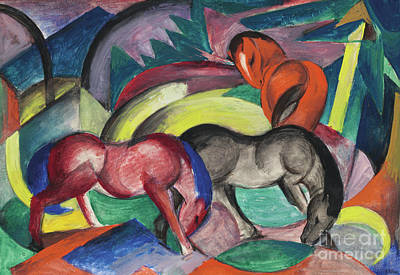 Painting - Three Horses, 1912 by Franz Marc