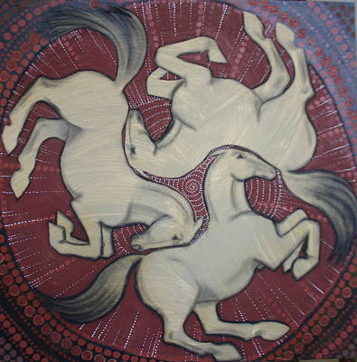 Celtic Art Painting - Three Horses by Sophy White