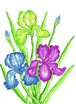 Watercolors Painting - Three Irises by Irina Afonskaya