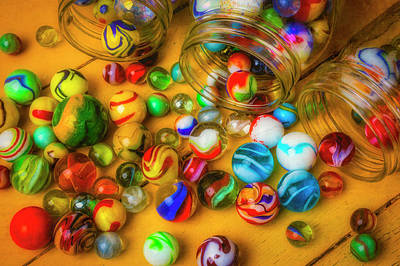 Photograph - Three Jars Of Marbles by Garry Gay