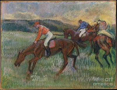 Degas Painting - Three Jockeys by Celestial Images