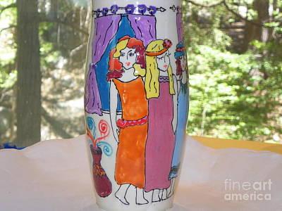 Ceramic Art - Three Ladies In Waiting by Lisa Dunn