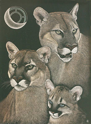 Painting - Three Lions by Angie Cockle
