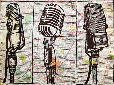 Printmaking Drawing - Three Microphones On Map by William Cauthern