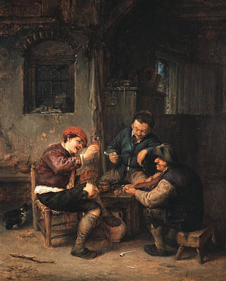 Table Painting - Three Peasants At An Inn by Adriaen van Ostade