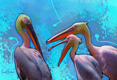 Peaple Painting - Three Pelicans Talking by Frank Bonnici